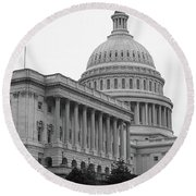 United States Capitol Building 4 Bw Round Beach Towel