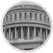 United States Capitol Building Bw Round Beach Towel