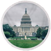 United States Capitol Building On A Foggy Day Round Beach Towel
