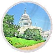United States Capitol - Washington Dc Round Beach Towel