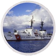 United States Coast Guard Cutter Rush Round Beach Towel by Michael Wood