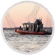 United States Coast Guard Heading Out Round Beach Towel