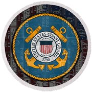 United States Coast Guard Logo Recycled Vintage License Plate Art Round Beach Towel