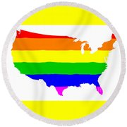 United States Gay Pride Flag Round Beach Towel
