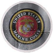 United States Marines Logo On Riveted Steel Round Beach Towel