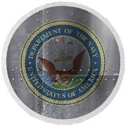 United States Navy Logo On Riveted Steel Boat Side Round Beach Towel