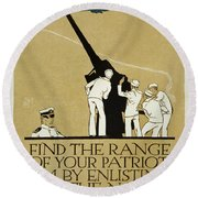 United States Navy Recruitment Poster From 1918 Round Beach Towel