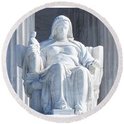 United States Supreme Court, The Contemplation Of Justice Statue, Washington, Dc 2 Round Beach Towel