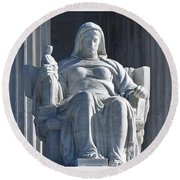 United States Supreme Court, The Contemplation Of Justice Statue, Washington, Dc 3 Round Beach Towel