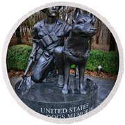 United States War Dog Memorial Round Beach Towel
