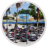 Universal Florida Parking Entrance Round Beach Towel