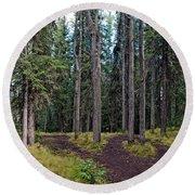 University Of Alaska Fairbanks Trail System Round Beach Towel