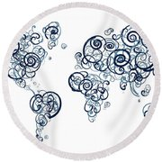 University Of British Colombia Colors Swirl Map Of The World Atl Round Beach Towel