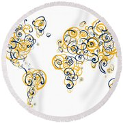 University Of California Berkeley Colors Swirl Map Of The World  Round Beach Towel