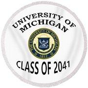 University Of Michigan Class Of 2041 Round Beach Towel