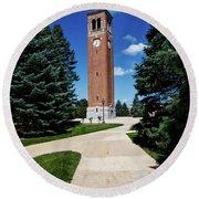 University Of Northern Iowa Bell Tower Round Beach Towel