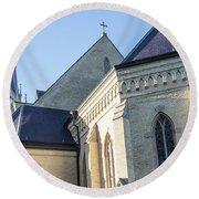 University Of Notre Dame Basilica  Round Beach Towel