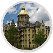 University Of Notre Dame Main Building 1879 Round Beach Towel