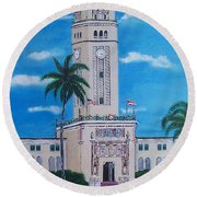 University Of Puerto Rico Tower Round Beach Towel