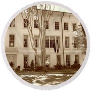University Of South Carolina President's Residence In Sepia Tones Round Beach Towel