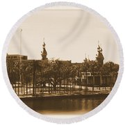 University Of Tampa - Old Postcard Framing Round Beach Towel