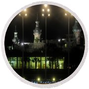 University Of Tampa Lights Round Beach Towel