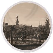 University Of Tampa With Old World Framing Round Beach Towel by Carol Groenen