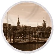 University Of Tampa With River - Sepia Round Beach Towel