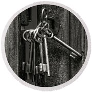 Unlocked - Keys And Opened Door Round Beach Towel