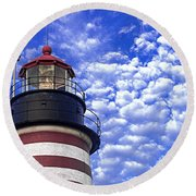 Unmistakable In Any Weather - West Quoddy Head Lighthouse Round Beach Towel