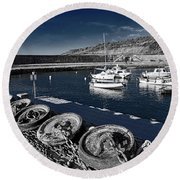Unplugged At The Harbour - Toned Round Beach Towel