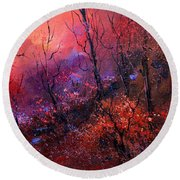 Unset In The Wood Round Beach Towel