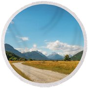 Unspoiled Alpine Scenery From Kinloch-glenorchy Road, Nz Round Beach Towel