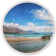 Unspoiled Alpine Scenery In Kinloch Wharf, New Zealand Round Beach Towel