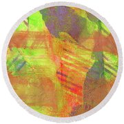 Untitled #13 Abstract Multicolor Round Beach Towel