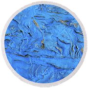Untitled-weathered Wood Design In Blue Round Beach Towel