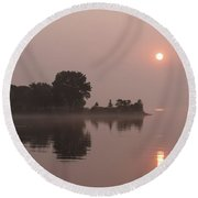 Silky Pink Sunrise - Soft Fog Shimmer On The Lake Round Beach Towel
