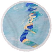 Untitled Swimmer Round Beach Towel