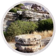 Unusual Rock Formations In The El Torcal Mountains Near Antequera Spain Round Beach Towel
