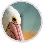 Up Close And Personal With My Pelican Friend Round Beach Towel by T Brian Jones
