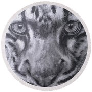 Up Close Clouded Leopard Round Beach Towel