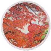 Up Close Flamboyant Round Beach Towel