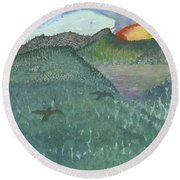 Up In The Mountains Round Beach Towel