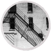 Up The Fire Escape Abstract Round Beach Towel