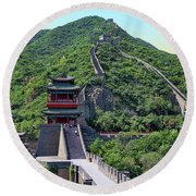 Up The Great Wall Round Beach Towel