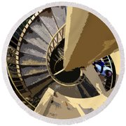 Up The Spiral Staircase Round Beach Towel