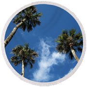 Up To The Sky Palms Round Beach Towel