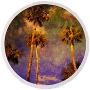 Up Up To The Sky Round Beach Towel