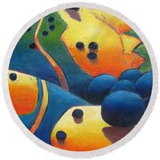 Uphill Climb Revisited. Round Beach Towel