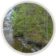 Upper And Middle Falls At Mine Kill State Park Round Beach Towel
